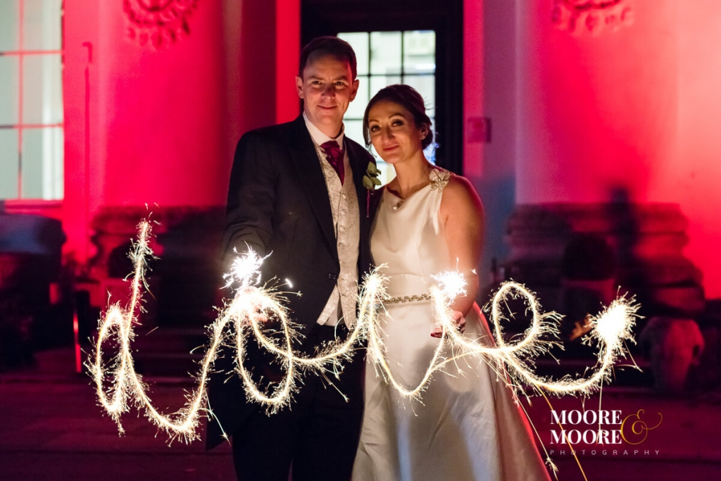 sparklers. Winter Wedding. Bride and Groom Portraits. Wedding Photography at Beaumont House, Windsor