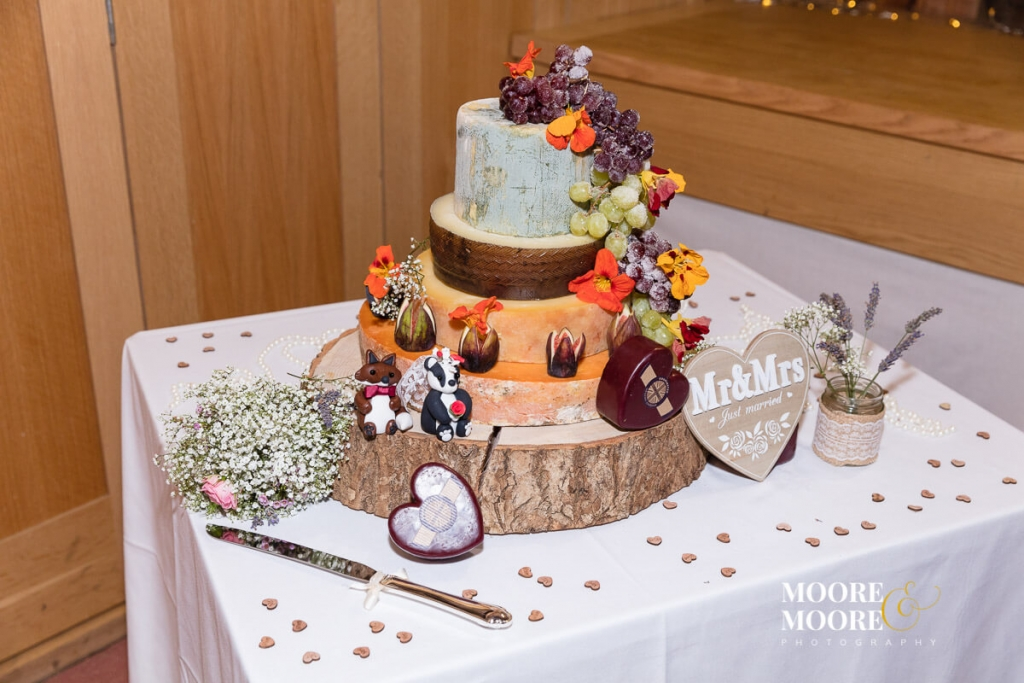 Beautiful Cheese Wedding Stack. Wedding Photography at Gilbert White & The Oates Collections Barn, Selborne