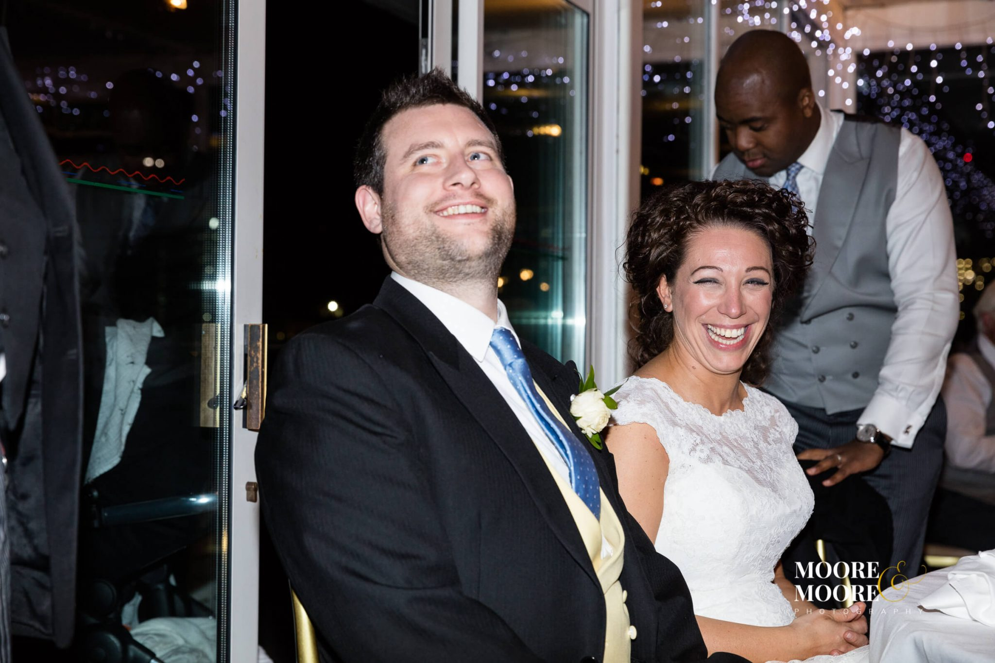 Bride and Groom big smiles, wedding photos by Hampshire Wedding Photographer, Helen Moore of Moore&Moore Photography