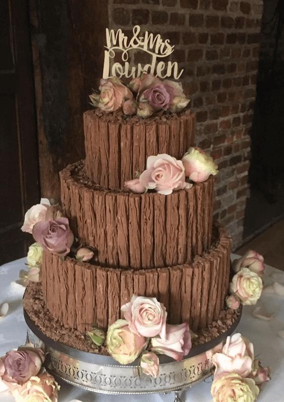 Chocolate and Fresh Flowers Wedding Cake